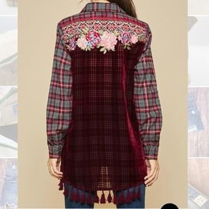 ANDREE flannel burnout floral embroidered top SM